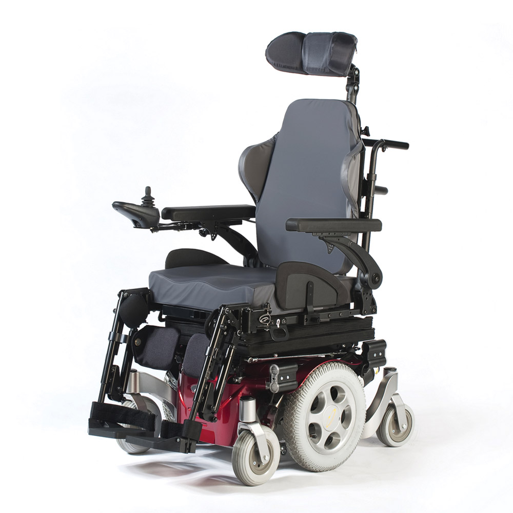 An electric wheelchair with light grey wheels, a red underbelly, and grey and black seating.